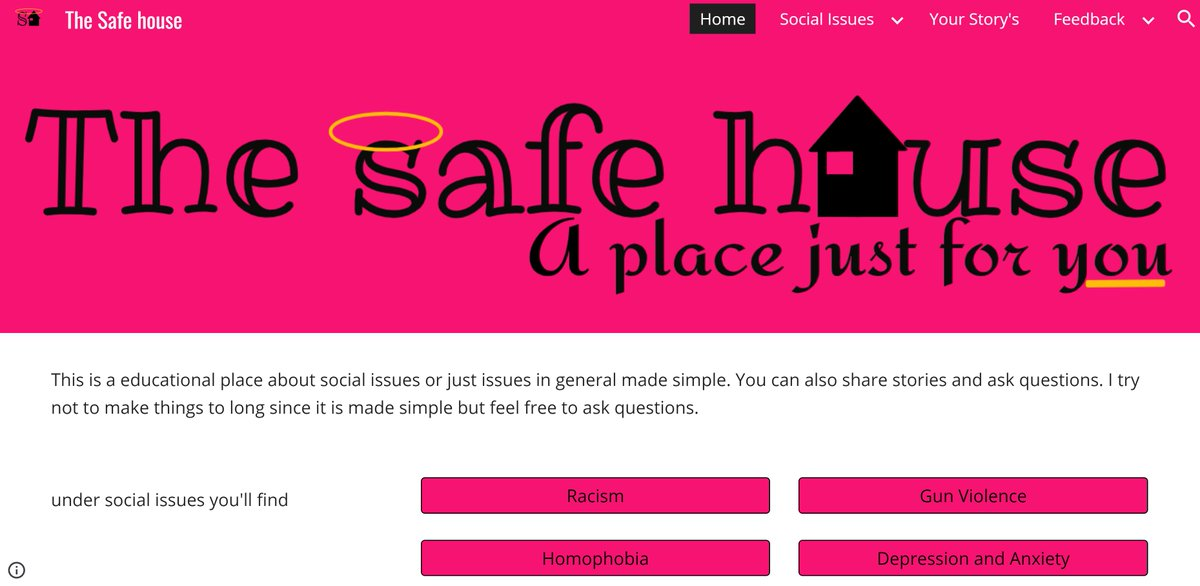 "Pink web design for educational social issues website titled ""The Safe House"""