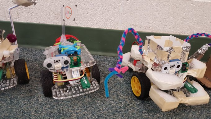 Photo of student-designed rovers
