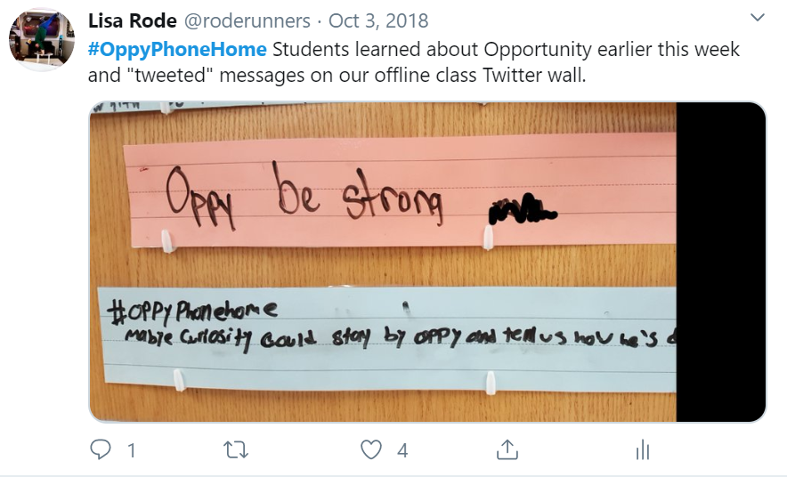 Photo of tweet showing messages students wrote about Opportunity rover