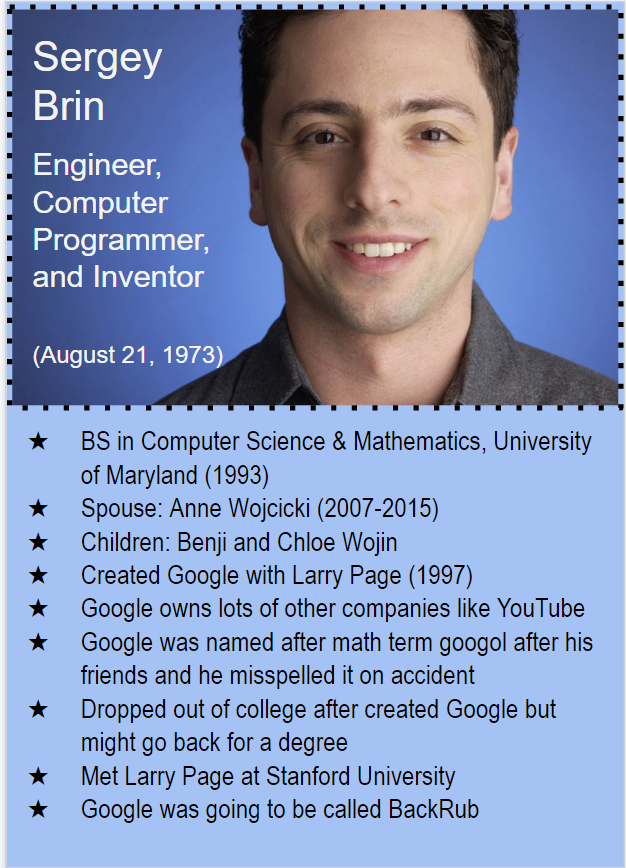 Trading card of Google's Sergey Brin