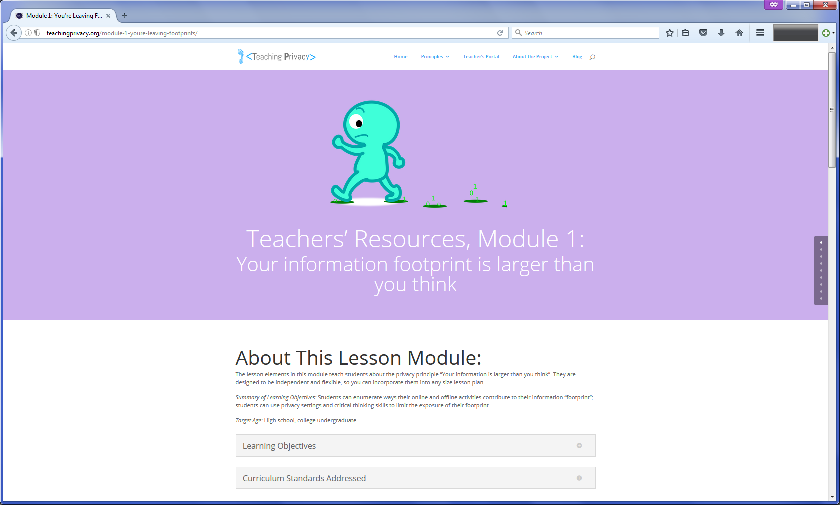 "Screenshot of lesson module page for the principle ""Your information footprint is larger than you think"""