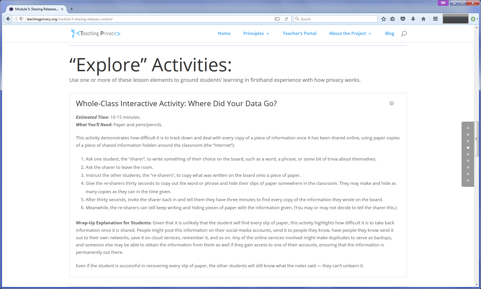"Screenshot of activity outline for ""Where Did Your Data Go?"""
