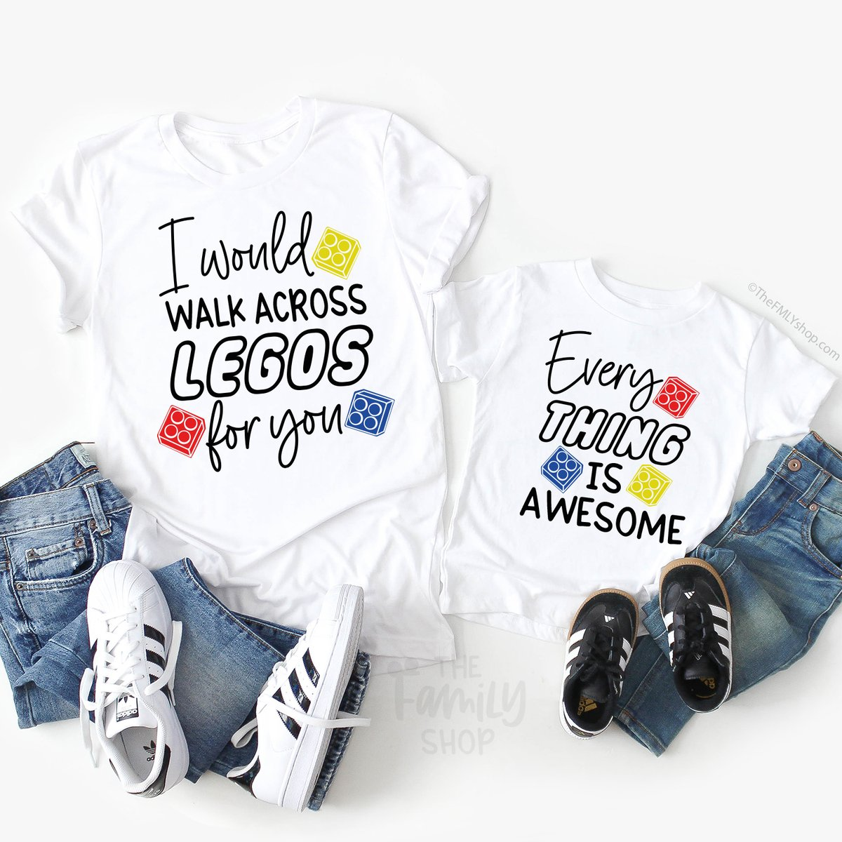 Mom and daughter LEGO shirts