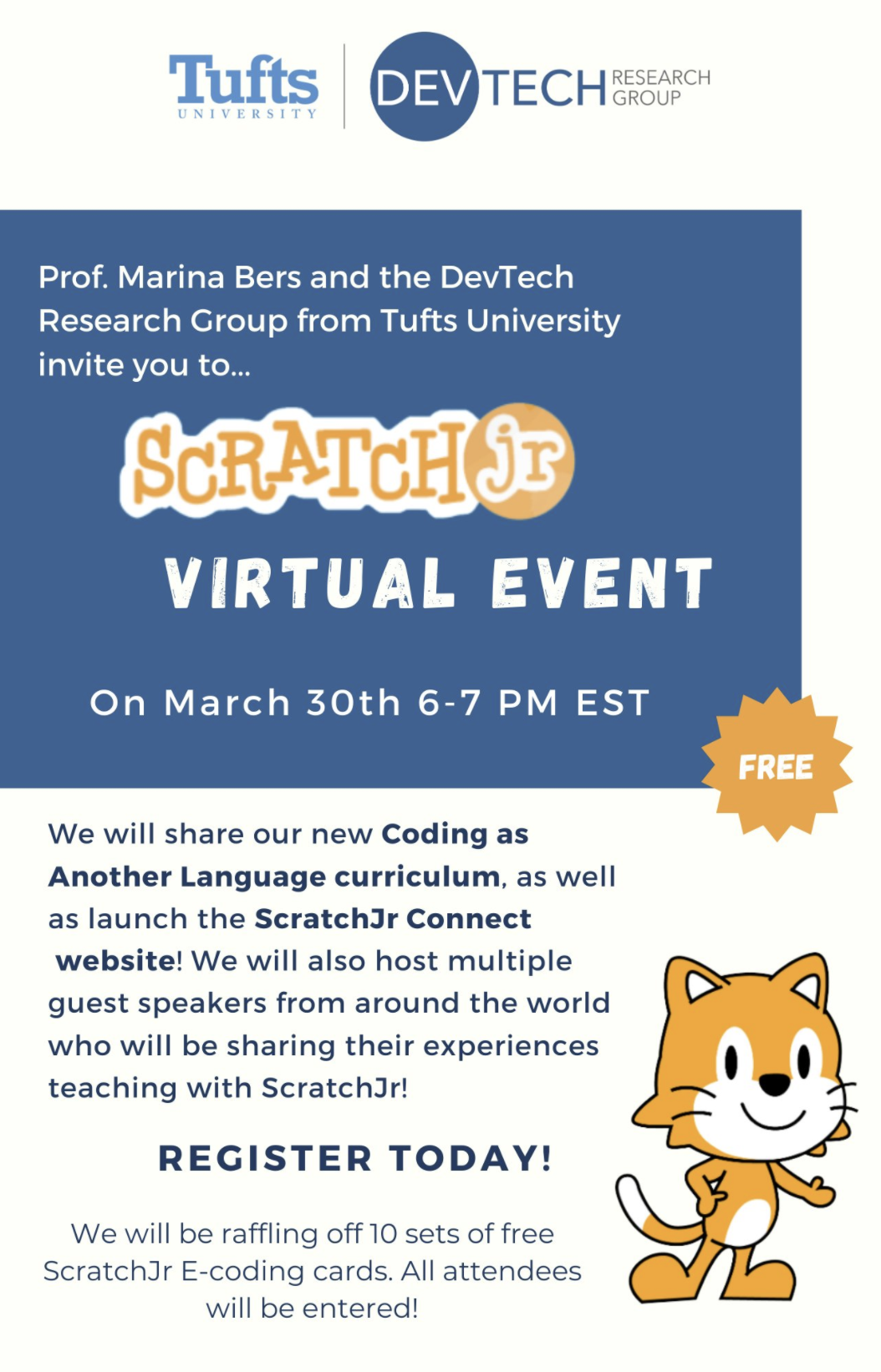 Flyer for ScratchJr. Free Virtual Event