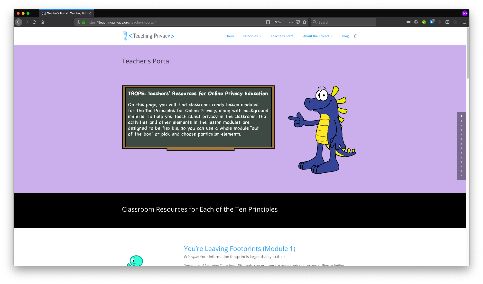 Screenshot of the Teaching Privacy Teachers' Portal Landing Page