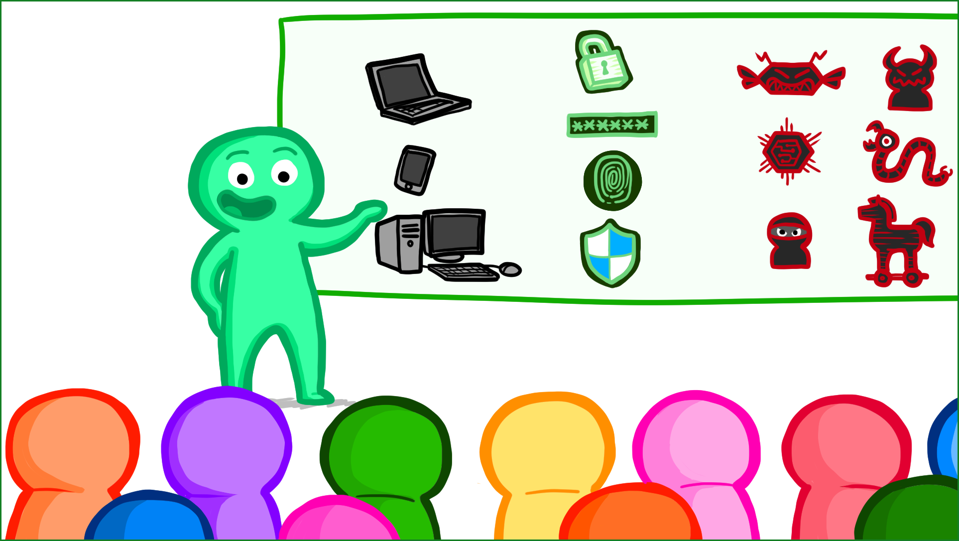 Illustration of a teacher at a whiteboard with icons related to computer security